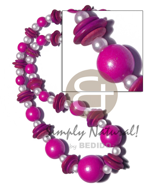 Wood Beads Pearls Fuschia Dyed Wooden Necklaces BFJ2642NK