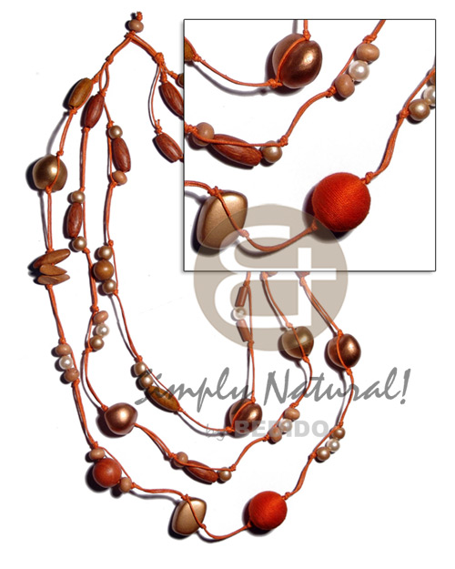 Wood Beads Pearls Lumbang Kukui Nut Seed Orange Bronze Multi Row 18 inches Wax Cord Wooden Necklaces BFJ2061NK