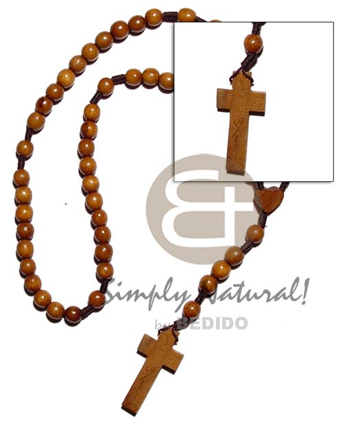 Wood Beads Rosary 45 mm 10 mm 24 inches Natural Wooden Necklaces BFJ1787NK