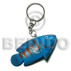Wood Hand Painted Fish 73 mm Multi-Color Keychain BFJ010KC