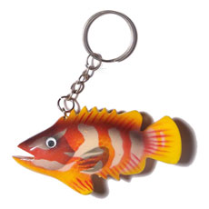 Wood Hand Painted Fish 80 mm Multi-Color Keychain BFJ007KC