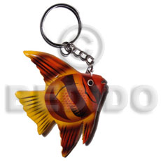 Wood Hand Painted Fish 90 mm Multi-Color Keychain BFJ005KC