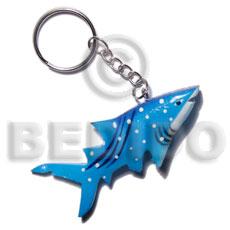 Wood Hand Painted Shark 75 mm Multi-Color Keychain BFJ009KC