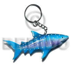 Wood Hand Painted Shark 90 mm Multi-Color Keychain BFJ006KC