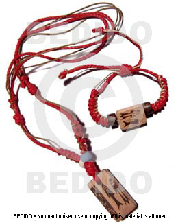 Wood Orange Set Jewelry Necklace Bracelets Macrame thread Set Jewelry BFJ016SJ