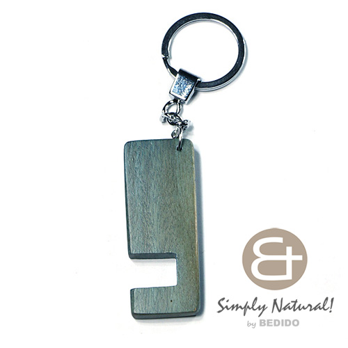 Wood Stained Blue Coated 64 mm x 24 mm x 5 mm Chrome Keychain IPHONE ANDROID ACCESSORY BFJ076KC