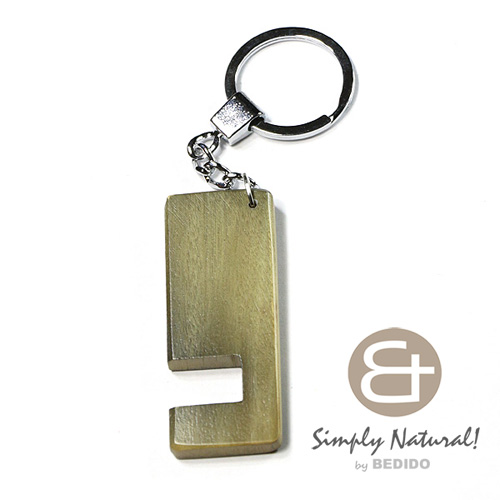 Wood Stained Green Coated 64 mm x 24 mm x 5 mm Chrome Keychain IPHONE ANDROID ACCESSORY BFJ073KC