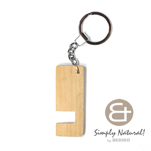 Wood Stained Natural Coated 64 mm x 24 mm x 5 mm Chrome Keychain KEYCHAIN BFJ082KC