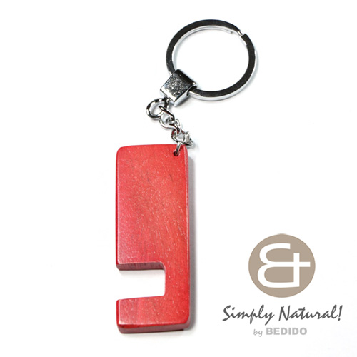 Wood Stained Red Coated 64 mm x 24 mm x 5 mm Chrome Keychain IPHONE ANDROID ACCESSORY BFJ074KC