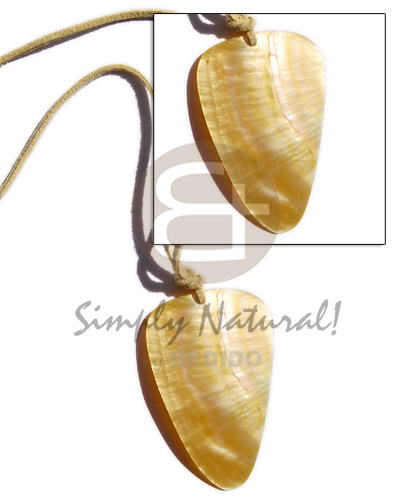 Yellow adjustable Mother-Of-Pearl Teardrop Leather Thong 45 mm Shell Necklace BFJ244NK