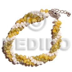 Yellow Green White Mongo White Shell Mongo Yellow Shell 7.5 inches Twisted Sea Shell Bracelets BFJ5162BR